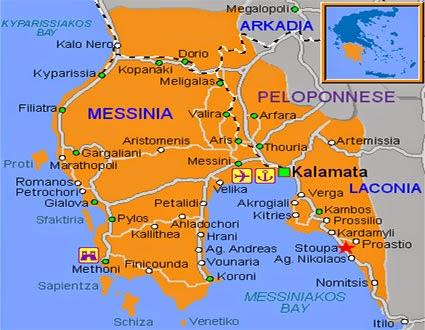 Mappa Kalamata e Mappa golfo di Kalamata